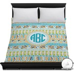 Abstract Teal Stripes Duvet Cover (Personalized)