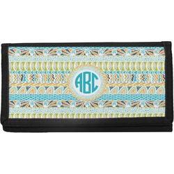 Abstract Teal Stripes Canvas Checkbook Cover (Personalized)