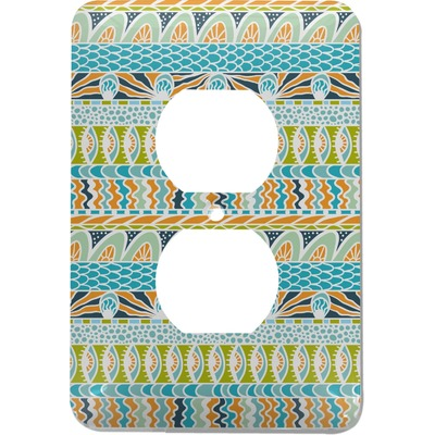 Abstract Teal Stripes Electric Outlet Plate (Personalized)