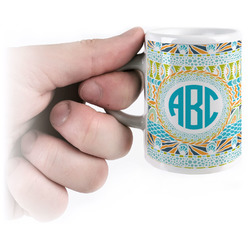 Abstract Teal Stripes Espresso Cups (Personalized)