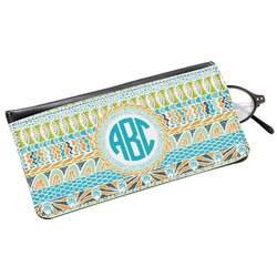 Abstract Teal Stripes Genuine Leather Eyeglass Case (Personalized)