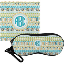 Abstract Teal Stripes Eyeglass Case & Cloth (Personalized)