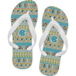 Abstract Teal Stripes Flip Flops (Personalized)