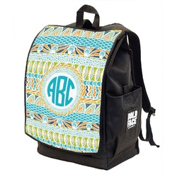 Abstract Teal Stripes Backpack w/ Front Flap  (Personalized)