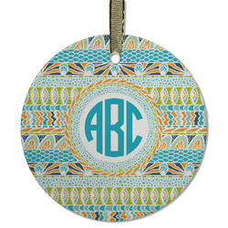 Abstract Teal Stripes Flat Glass Ornament - Round w/ Monogram