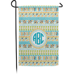 Abstract Teal Stripes Garden Flag - Single or Double Sided (Personalized)
