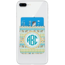 Abstract Teal Stripes Genuine Leather Adhesive Phone Wallet (Personalized)