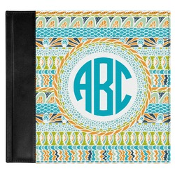 Abstract Teal Stripes Genuine Leather Baby Memory Book (Personalized)