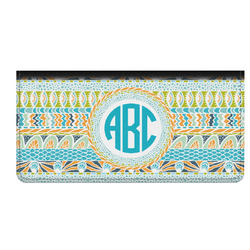 Abstract Teal Stripes Genuine Leather Checkbook Cover (Personalized)