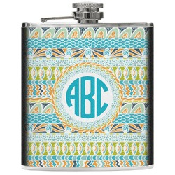 Abstract Teal Stripes Genuine Leather Flask (Personalized)