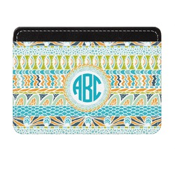 Abstract Teal Stripes Genuine Leather Front Pocket Wallet (Personalized)