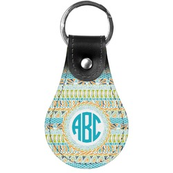 Abstract Teal Stripes Genuine Leather  Keychain (Personalized)