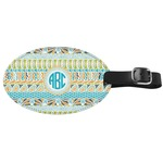 Abstract Teal Stripes Genuine Leather Oval Luggage Tag (Personalized)