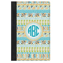 Abstract Teal Stripes Genuine Leather Passport Cover (Personalized)