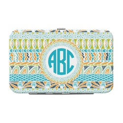 Abstract Teal Stripes Genuine Leather Small Framed Wallet (Personalized)