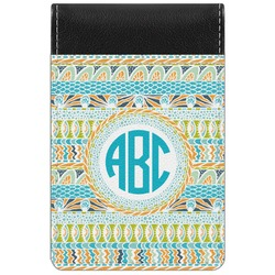 Abstract Teal Stripes Genuine Leather Small Memo Pad (Personalized)