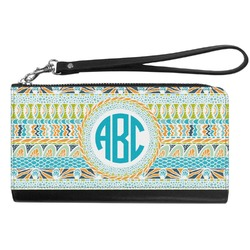 Abstract Teal Stripes Genuine Leather Smartphone Wrist Wallet (Personalized)