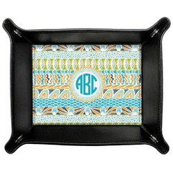 Abstract Teal Stripes Genuine Leather Valet Tray (Personalized)