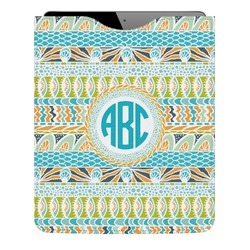 Abstract Teal Stripes Genuine Leather iPad Sleeve (Personalized)