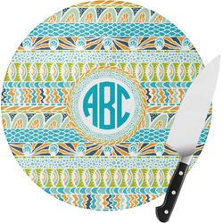 Abstract Teal Stripes Round Glass Cutting Board (Personalized)