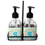 Abstract Teal Stripes Soap & Lotion Dispenser Set (Glass) (Personalized)