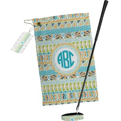 Abstract Teal Stripes Golf Towel Gift Set (Personalized)