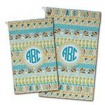 Abstract Teal Stripes Golf Towel - Full Print w/ Monogram