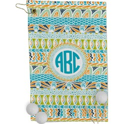 Abstract Teal Stripes Golf Towel - Full Print (Personalized)