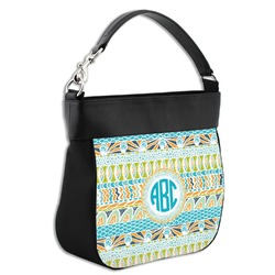 Abstract Teal Stripes Hobo Purse w/ Genuine Leather Trim (Personalized)
