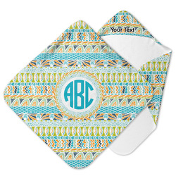 Abstract Teal Stripes Hooded Baby Towel (Personalized)