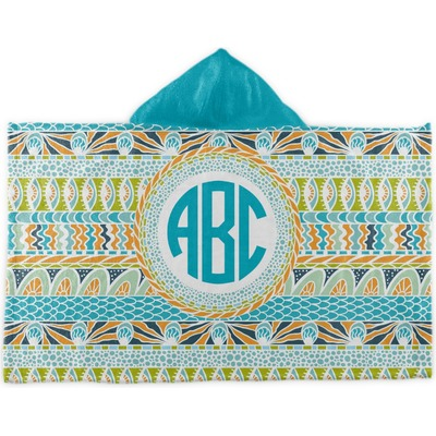 Abstract Teal Stripes Kids Hooded Towel (Personalized)