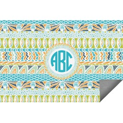Abstract Teal Stripes Indoor / Outdoor Rug (Personalized)