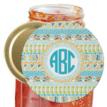 Abstract Teal Stripes Jar Opener (Personalized)