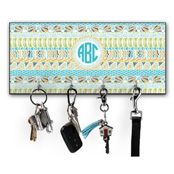 Abstract Teal Stripes Key Hanger w/ 4 Hooks (Personalized)
