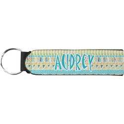 Abstract Teal Stripes Neoprene Keychain Fob (Personalized)
