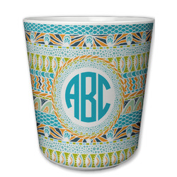 Abstract Teal Stripes Plastic Tumbler 6oz (Personalized)