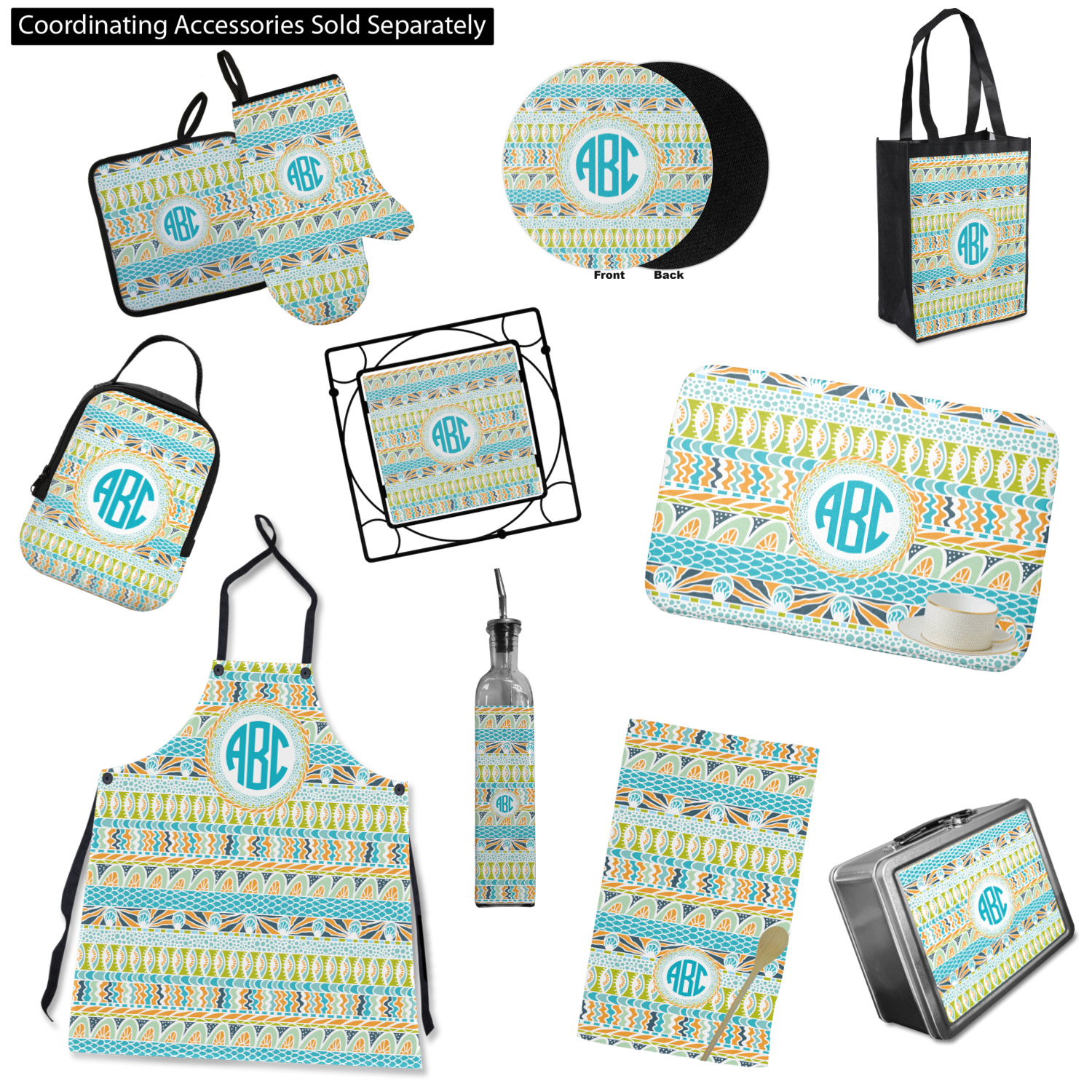 Teal Kitchen Accessories: Abstract Teal Stripes Oven Mitt & Pot Holder (Personalized