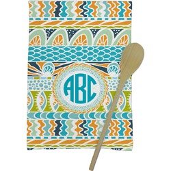 Abstract Teal Stripes Kitchen Towel - Full Print (Personalized)