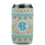 Abstract Teal Stripes Can Sleeve (12 oz) (Personalized)