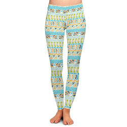 Abstract Teal Stripes Ladies Leggings (Personalized)