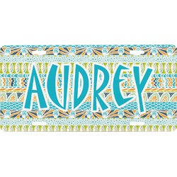 Abstract Teal Stripes Front License Plate (Personalized)