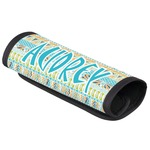 Abstract Teal Stripes Luggage Handle Cover (Personalized)