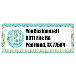 Abstract Teal Stripes Return Address Label (Personalized)
