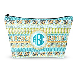 Abstract Teal Stripes Makeup Bags (Personalized)