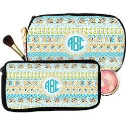 Abstract Teal Stripes Makeup / Cosmetic Bag (Personalized)