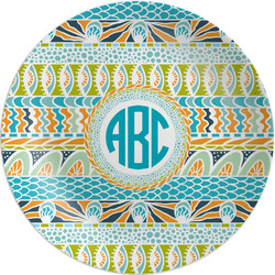 """Abstract Teal Stripes Melamine Plate - 8"""" (Personalized)"""