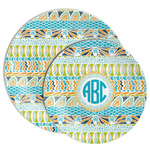 Abstract Teal Stripes Melamine Plate (Personalized)