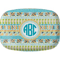 Abstract Teal Stripes Melamine Platter (Personalized)