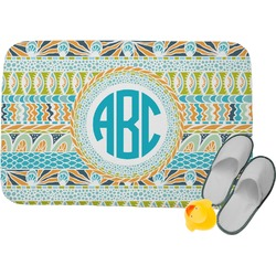 Abstract Teal Stripes Memory Foam Bath Mat (Personalized)