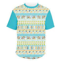 Abstract Teal Stripes Men's Crew T-Shirt (Personalized)
